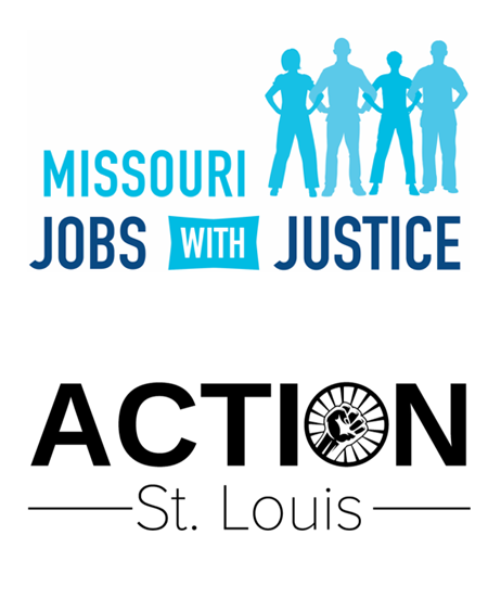 Missouri Jobs with Justice + Action St. Louis logos